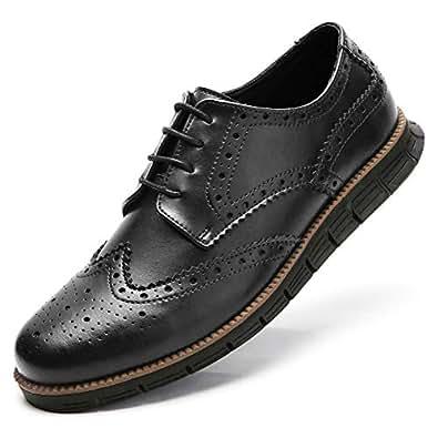 Gecatiso Men's Dress Shoes Causal Wingtip Brogue Oxfords (41, Black)