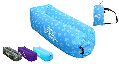 Prints Recliner (US Lounger Light Blue Paw Print Fast Inflatable Portable Outdoor or Indoor Wind Bed Lounger, Air Bag Sofa, Air Sleeping Sofa Couch, Lazy Bed for Camping, Beach, Park, Backyard)