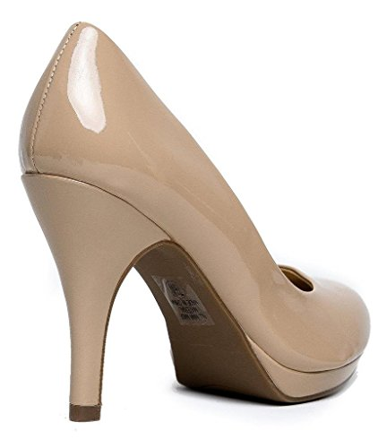 MARCOREPUBLIC Rome Memory Foam Cushion Womens Low Platform Heels Comfort Pumps - (Dark Beige Patent) - 11 by MARCOREPUBLIC (Image #2)