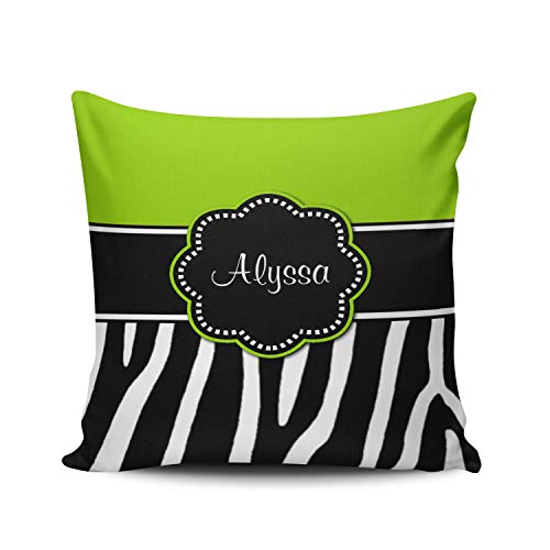 WEINIYA Home Custom Decor Lime Green Zebra Chevron Throw Pillow Cover Exquisite Double Sides Printed Patterning European 26x26 Inches (Lime Green Zebra)