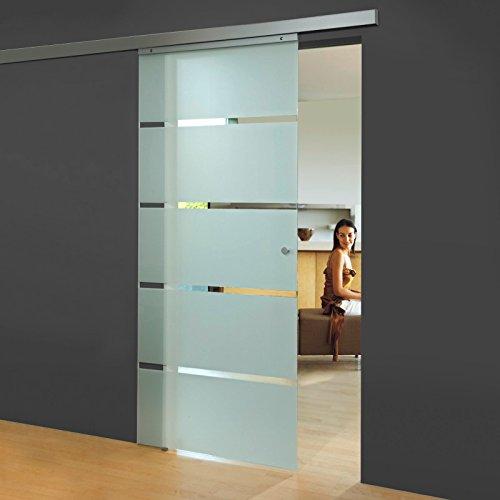 Schiebetür Glas-Schiebetür Zimmertür 880x2035mm Innentür Komplettset mit Laufschiene & Glastür (Blockstreifen satiniert + Griffknopf)