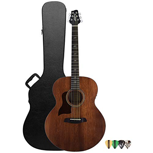 Sawtooth Mahogany Series Left-Handed Solid Mahogany Top Acoustic-Electric Jumbo Guitar with Hard Case and Pick Sampler