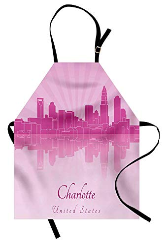 T&H Home North Carolina Apron, Charlotte Skyline in Pastel Tones North American Town Retro Cityscape, Unisex Kitchen Bib Apron Adjustable for Kids Adults Cooking Baking Gardening, Fuchsia Baby Pink