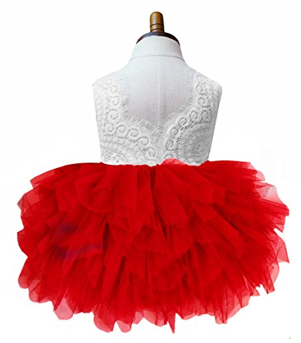 2Bunnies Girl Beaded Peony Lace Back A-Line Tiered Tutu Tulle Flower Girl Dress (Red Sleeveless, 3T) -