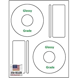 200 Gloss Compatible Memorex Full Face CD / DVD Labels. Large Center Style. 200 Total Glossy CD Labels / 100 Sheets with Spine and Case Labels. Works in ink jet printers only.