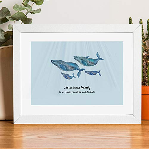 (Personalized Family Portrait Print of Whales. An Elegant Decorative Artwork Print for a Family Home )