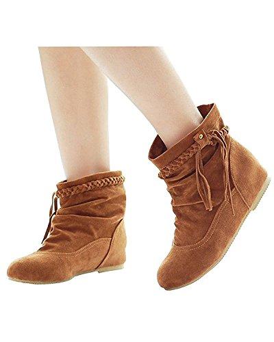 Minetom Cargadores Botas Invierno De E Zapatos Mujer Cómodo Flecos Caqui Calentar Botines Moda Otoño rv4FqrwgU