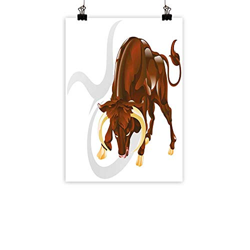 BarronTextile Taurus Simulation Oil paintingAngry Bull Birth Sign Astrology Animal Icon Cultural Western Spirituality Graphic Decorative Painted Sofa Background wallRedwood Cream 31