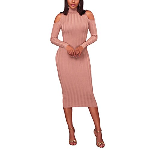 Women's Sexy Turtleneck Cold Shoulder Bodycon Pencil Knitted Sweater Midi Dress Flesh Pink S -