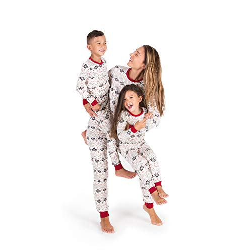 Burt's Bees Baby Family Jammies, Hand Drawn Snowflakes, Holiday Matching Pajamas, Organic Cotton, Womens Jumpsuit Medium -