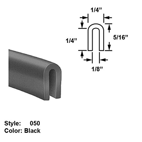 Silicone Foam High-Temperature U-Channel Push-On Trim, Style 050 - Ht. 5/16'' x Wd. 1/4'' - Black - 25 ft long by Gordon Glass Co.
