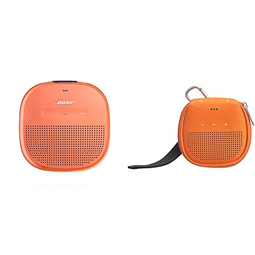 Bose SoundLink Micro Waterproof Bluetooth speaker (Bright Orange) with AmazonBasics Case (Orange)