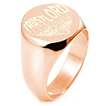 Sterling Silver Trust in the Lord Proverbs 3:5 Engraved Round Flat Top Polished Ring