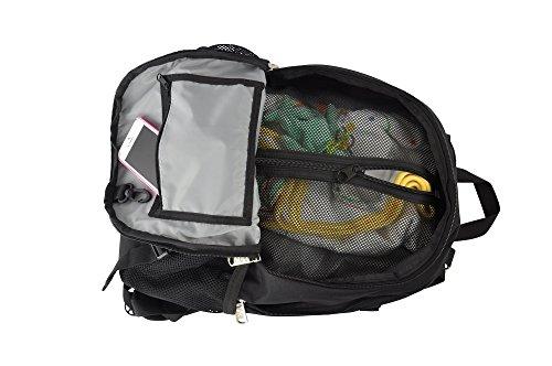 Obersee Rio - Mochila para pañales con bolsa isotérmica separable (negro y blanco)