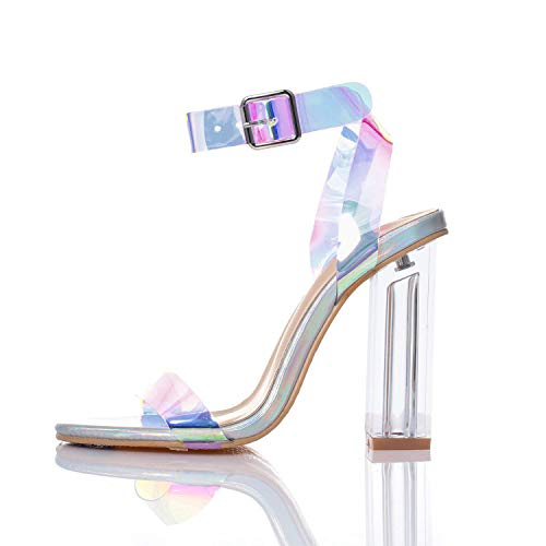 JSUN7 Women's Clear Chunky High Heel Sandals Open Toe Block Laser Glossy PU Ankle Strap with Buckle 1920s Gatsby Sandal Fashion Party Wedding Shoes for Women