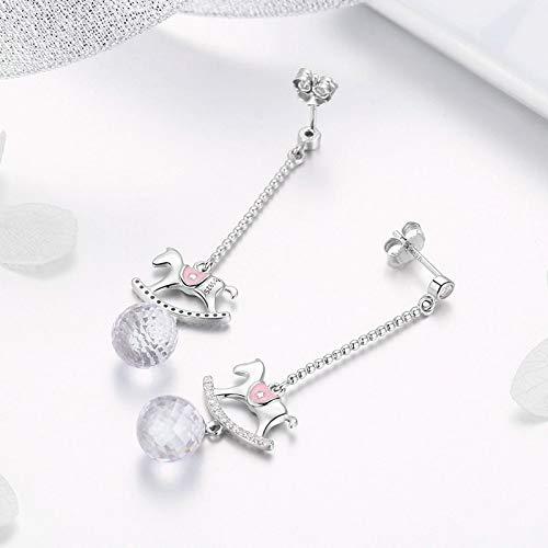 The Kiss Little Horse CZ Dangle 925 Sterling Silver Earrings
