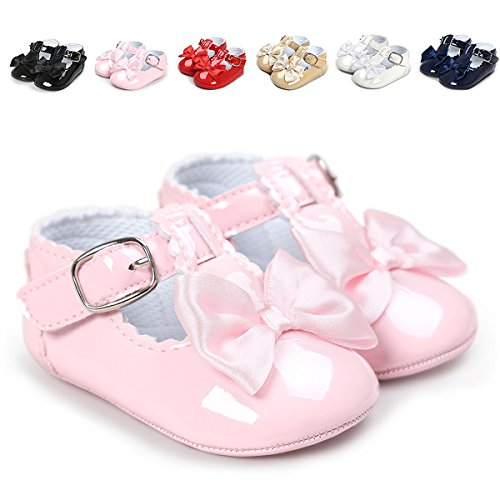 QGAKAGO Infant Baby Girls' Princess PU Leather Mary Jane Shoes Soft Sole Bowknot Shoes (L: 5.12 inch(12~18 Months), Pink) -