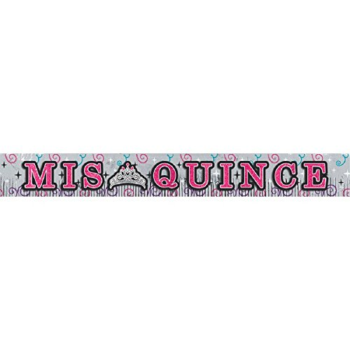 Elegant Mis Quince Años Foil Fringe Banner with Glitter Letters Birthday Party Decorations (1 Piece), Multi Color, 10' x 11 1/2