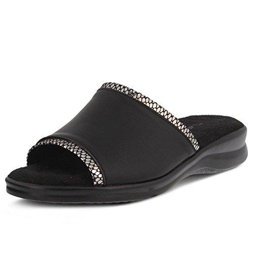 Black Flexus Cumbia Slide Womens Leather YZwZf4gqx