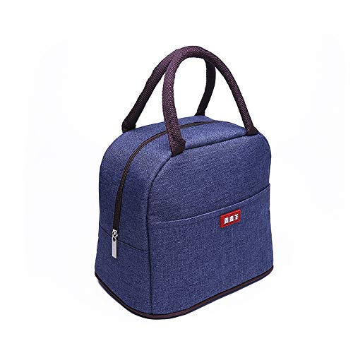 (Insulated Lunch Bags for Women Fashionable Reusable Lunch Tote Cooler Bag Handbag For Women Girls ToMike (Denim Blue) )