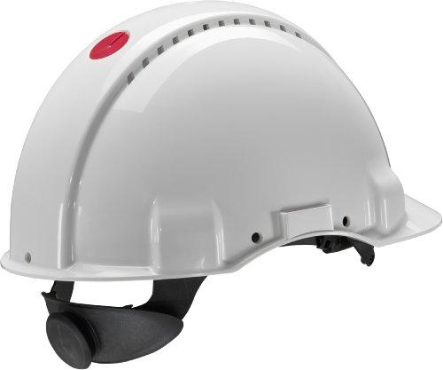 3M G3000 Casco de seguridad blanco con ventilación, arnés de ruleta y banda sudor de plástico (1 casco/caja) 2
