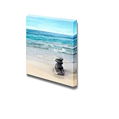 Canvas Wall Art - Beautiful Scenery Stones on The Beach | Modern Home Art Canvas Prints Gallery Wrap Giclee Printing & Ready to Hang - 12