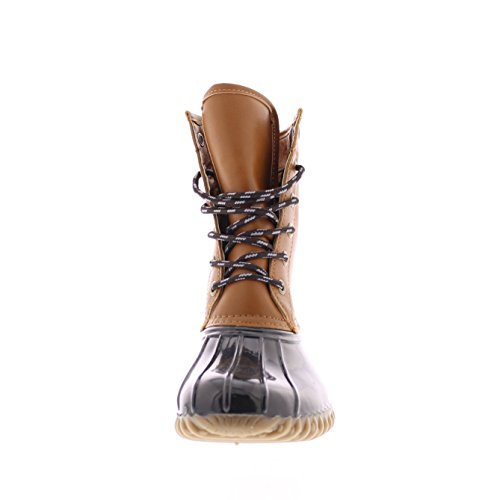 Weather Duck Waterproof Rain Toe With Traction Womens Up Combat Outsole Rubber Quack Boot All Gold Cognac Lace vAYwv