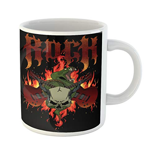 Semtomn Funny Coffee Mug Rock Flames Crossed Guitars Rattle Snake and Horned Skull Good 11 Oz Ceramic Coffee Mugs Tea Cup Best Gift Or Souvenir