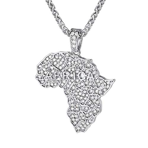 (U7 Men Iced Out Africa Map Necklace Pendant & Platinum Plated Rope Chain Personalized Cubic Zirconia Hip Hop Jewelry)