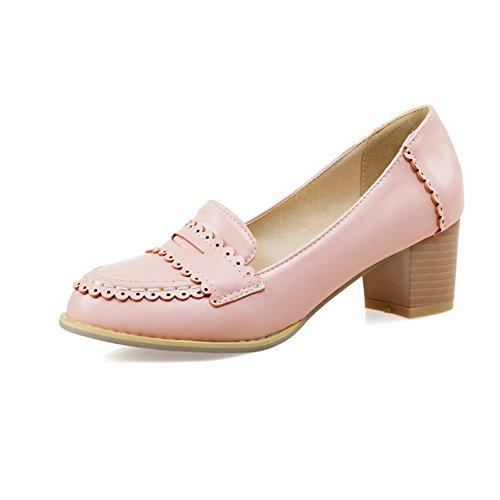 AgooLar Damen Mittler Absatz Ziehen auf Weiches Material Rund Zehe Pumps Schuhe Pink