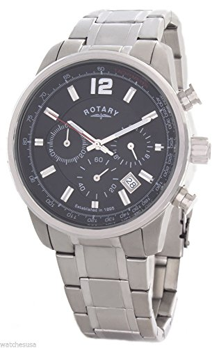 Rotary Men's Black Dial Stainless Steel Bracelet Chronograph Watch GB00421/04