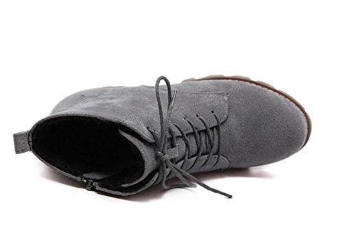 KUKI Damenschuhe, Damenstiefel, Martin Stiefel, dicke Sohlen, Stiefel, wild, runder Kopf, dick mit Absätzen, und nackte Stiefel, Mode, warm gray