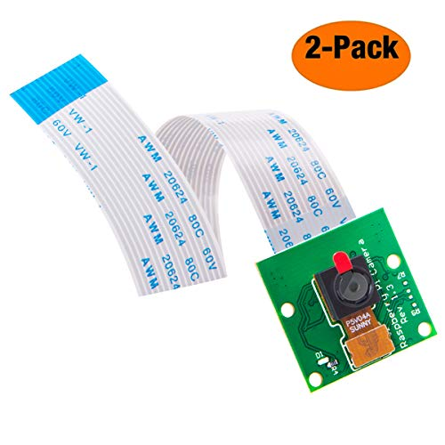 (AuviPal 5MP 1080p HD Raspberry Pi Camera Module with OV5647 Sensor and 6 inch 15 Pin Ribbon Cable - 2 Pack)