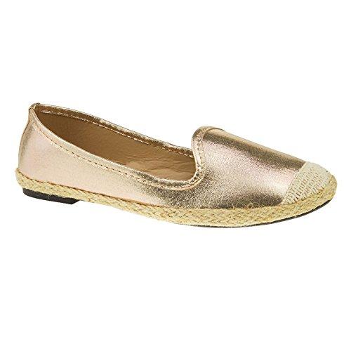 London Footwear ,  Damen Espadrilles Hellgoldfarben