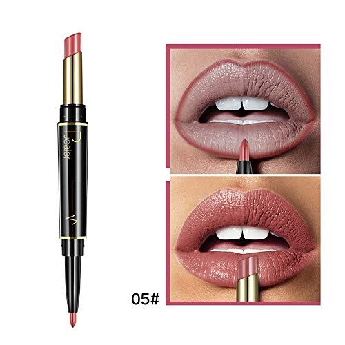2 in 1 Double-end Lipstick Lipliner - Liquid Lipstick Lip Liner Pencil Gloss for Women Girls - Waterproof Long Lasting Durable Moisturizing Beauty Make-up Cosmetics - 2 kinds 32 colors (B-05)