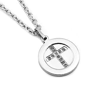 Sirius joyas de Moda de acero inoxidable de los hombres Unisex Cruz colgante de collar del encanto del círculo de la caja de regalo, color plata