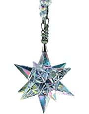 Car Decor Diamond Rear View Mirror Charms, Car Pendant Crystal Meteor Decoration, Sun Catcher Hanging Ornament w/Beaded Chain, Car Chandelier, Bling Car Accessories