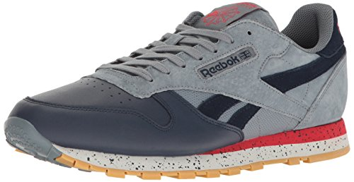 Sm Leather (Reebok Men's CL Leather SM Fashion Sneaker, Asteroid Dust/Cllg Nav/Prml Red/Sklgry-Gum, 9.5 M US)