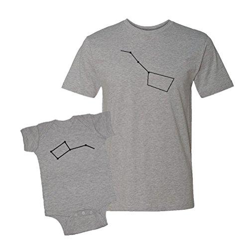 Mashed Clothing Big Dipper & Little Dipper Unisex T-Shirt & Bodysuit Set (NB Bodysuit, Adult Large, Heather Grey) -