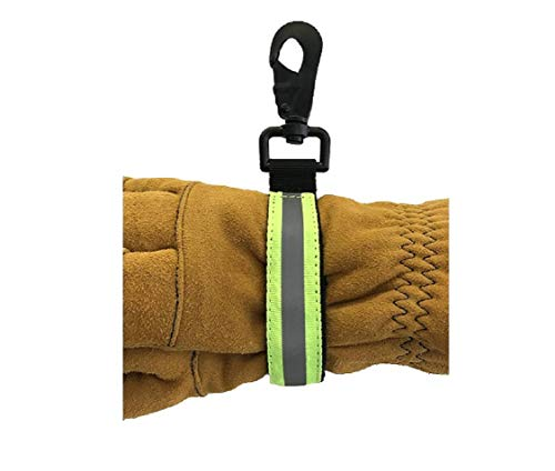 LINE2design Heavy Duty Firefighter Glove Strap with Green Reflective Trim - Ultimate Turnout Gear Firefighting Glove Safety Strap -