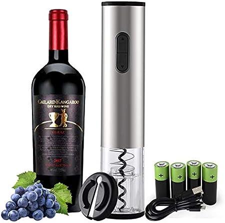 Mfshiye - Juego de abrebotellas eléctrico, de acero inoxidable, abridor de botellas de vino, con cortador de hojas, recargable por USB (estilo 2)