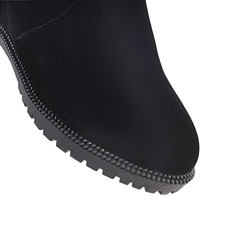 Knee BalaMasa Toe The Closed ABL09845 Low Heel Black Womens Boots Above Suede Zipper gq4pg