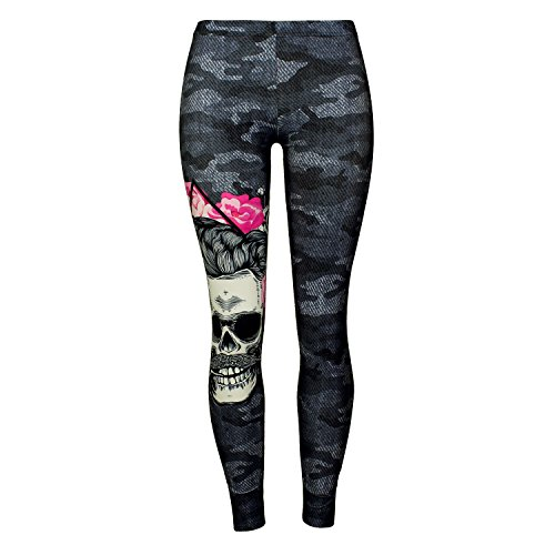 Mad Ink Sexy Tight Pants Skull Tattoo Digital Full 3D Print Elasticity Leggings Pencil Pants for Women Girls (Skull Camouflage) (Sexy Pants Tight)