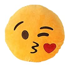VOMO Soft Emoji Smiley Emoticon Yellow Round Cushion Pillow Stuffed Plush Toy Doll (Throwing kiss)