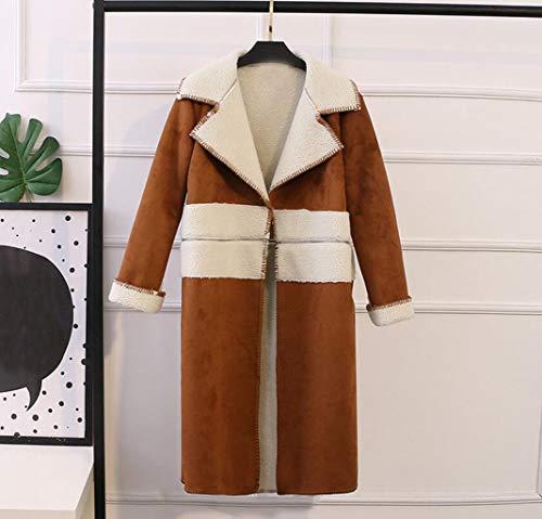 Xl Chaqueta Acolchados Dos Costura Tamaño Mujer Moda De color Ropa Ante Acolchado Con Algodón Invierno Jbhurf Brown wqa017x