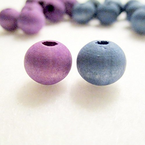 40 Violet and Blue Hand Dyed Wood Beads, 10mm, Jewelry Making Supplies, Wood Beads from TheDDCollection