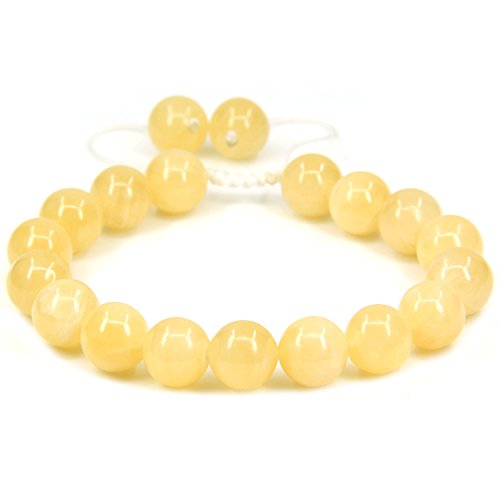Natural Yellow Jade Gemstone 10mm Round Beads Adjustable Braided Macrame Tassels Chakra Reiki Bracelets 7-9 inch Unisex
