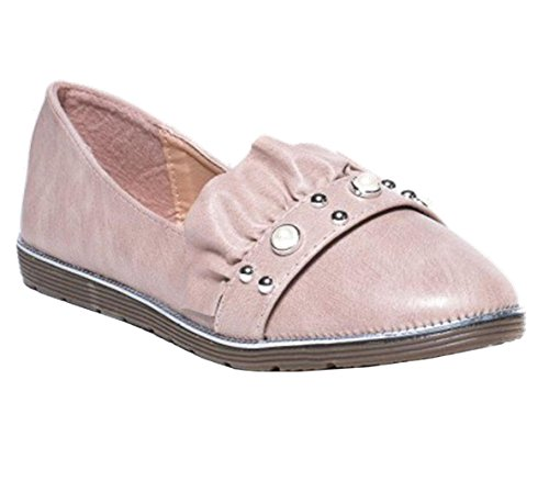Womens Ladies Faux Leather Studded Ruffle Studded Slip On Ballerina Loafer Pumps Shoes - F94 Pink 3bLpv9Kr