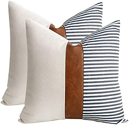 cygnus Set of 2 Farmhouse Decor Stripe Patchwork Linen Throw Pillow Covers,Modern Tan Faux Leather Accent Pillow Covers 18x18 inch,Navy Blue