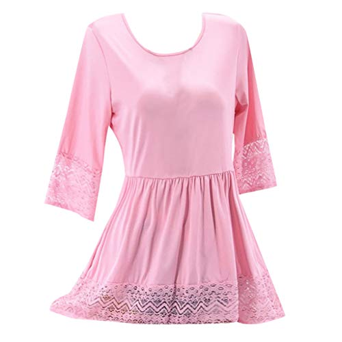 UOKNICE Dresses for Women, Spring Summer Casual Plus Size Round Neck Solid Lace Patchwork Half Sleeve Loose Dress Ruffle sexis 21st Photo Printed at BCBG Patterns Couture Mauve Over ()